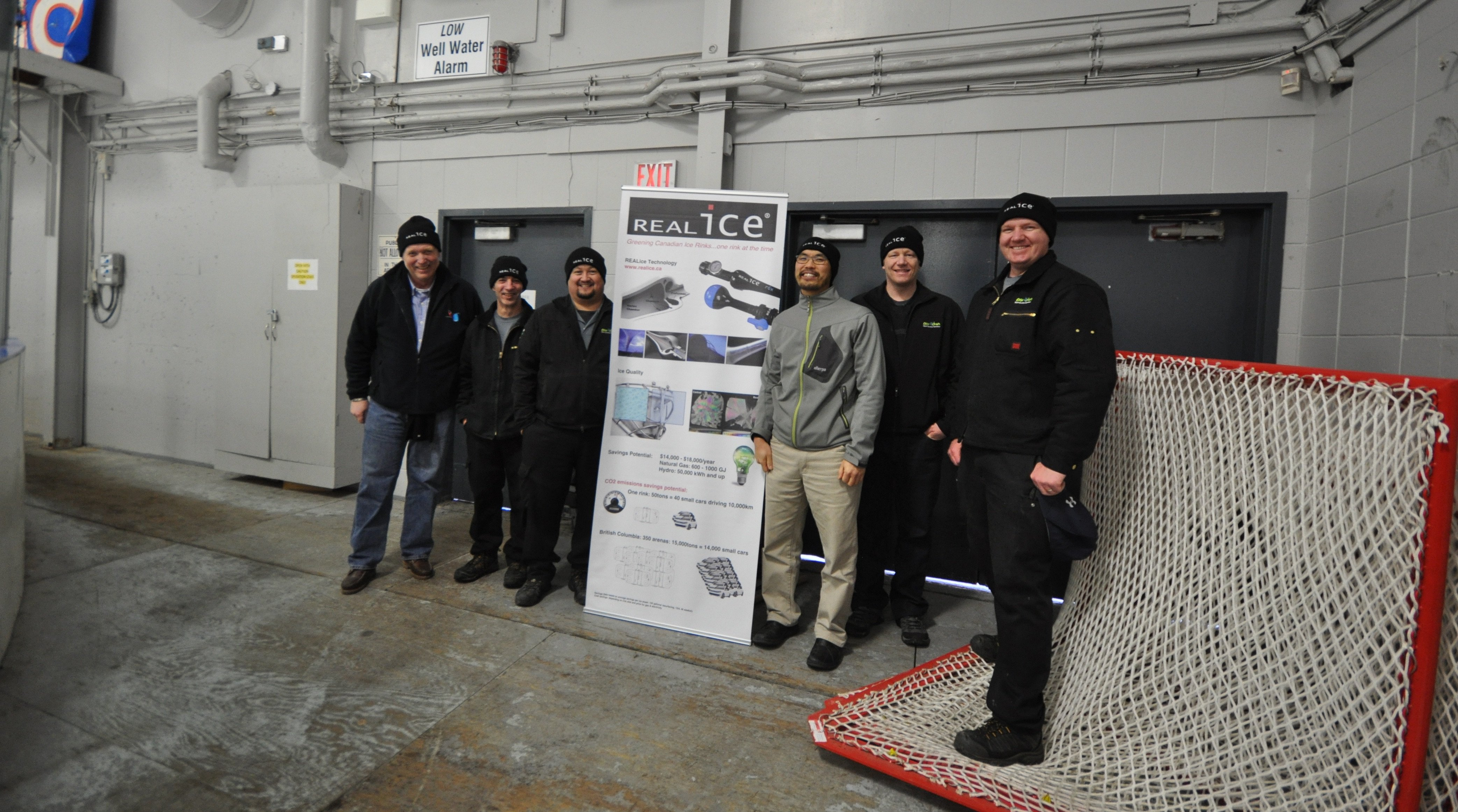 In the picture, the ice crew from Kerry Park Recreation Centre with Hakan Gronlund (H20 Vortex at the very left) and Kuan-Jian Foo (former energy manager Cowichan Valley Region District, third from the right). Source water